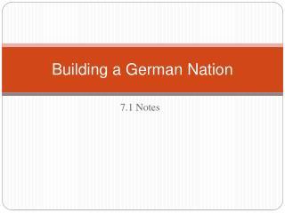 Building a German Nation
