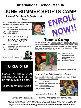 International School Manila JUNE SUMMER  SPORTS CAMP