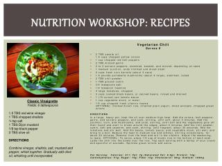 Nutrition Workshop: Recipes