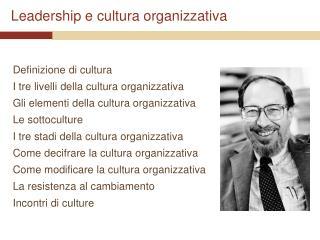 Leadership e cultura organizzativa
