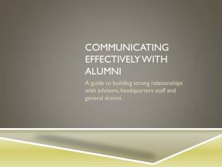 Communicating  effectively with alumni