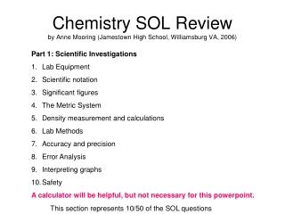 Chemistry SOL Review by Anne Mooring (Jamestown High School, Williamsburg VA, 2006)