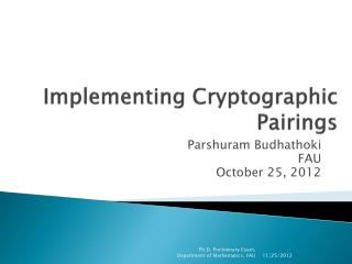 Implementing Cryptographic Pairings
