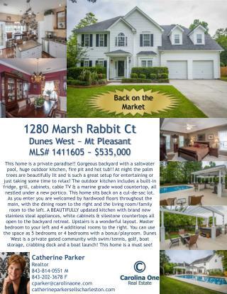 1280 Marsh Rabbit Ct Dunes West ~ Mt Pleasant MLS# 1411605 ~ $535,000
