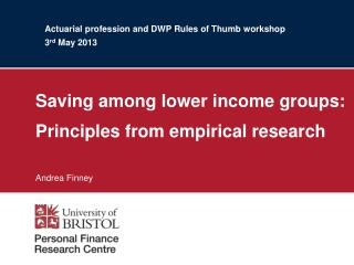 Actuarial profession and DWP Rules of Thumb workshop 3 rd  May 2013