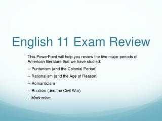 English 11 Exam Review