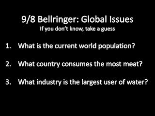 9/ 8  Bellringer: Global Issues If you don't know, take a guess