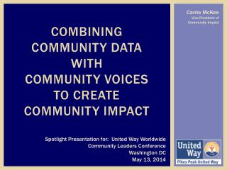 Combining COMMUNITY DATA  with  COMMUNITY VOICES  to create Community impact