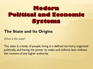 Modern Political  and  Economic  Systems