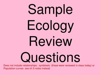 Sample Ecology   Review Questions