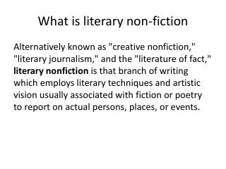 What is literary non-fiction