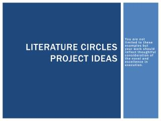 Literature Circles Project ideas