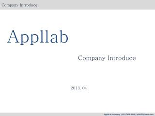 Appllab Company  Introduce