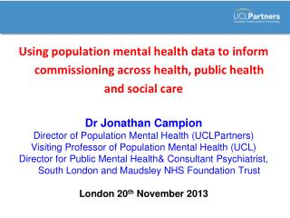 Using population mental health data to inform commissioning across health, public health