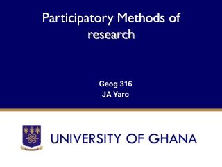Participatory Methods of research