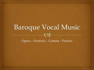 Baroque Vocal Music
