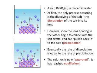 A salt, BaSO 4 (s), is placed in water
