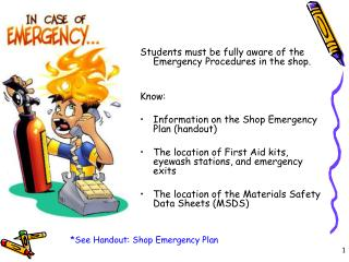 Students must be fully aware of the Emergency Procedures in the shop. Know: