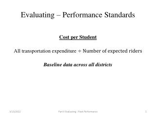 Evaluating – Performance Standards