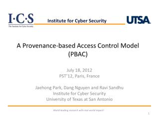A Provenance-based Access Control Model (PBAC)