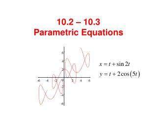 10.2 – 10.3  Parametric Equations