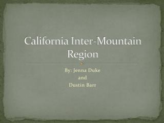 California Inter-Mountain Region