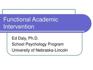 Functional Academic Intervention