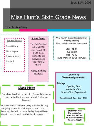 Miss Hunt's Sixth Grade News
