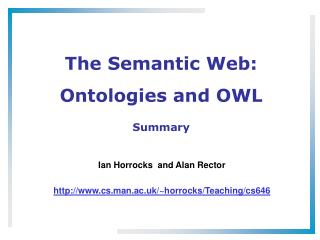 The Semantic Web: Ontologies and OWL