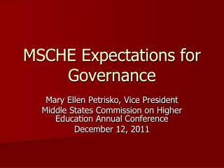 MSCHE Expectations for Governance