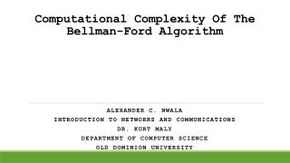 Computational Complexity Of The Bellman-Ford Algorithm