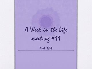 A Week in the Life meeting #11 AWL 12-1