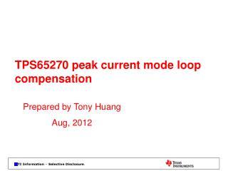 TPS65270 peak current mode loop compensation