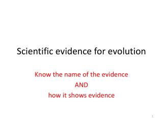 Scientific evidence for evolution