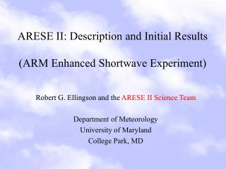 ARESE II: Description and Initial Results  (ARM Enhanced Shortwave Experiment)