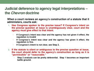 Judicial deference to agency legal interpretations – the  Chevron  doctrine