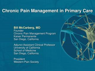 Chronic Pain Management in Primary Care