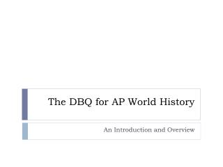The DBQ for AP World History