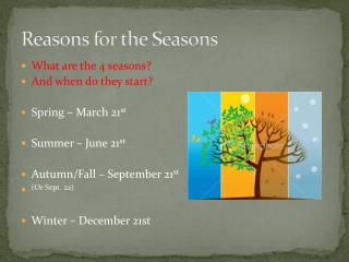 Reasons for the Seasons