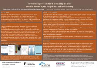 Towards a protocol for the development of  mobile health Apps for  patient self-monitoring