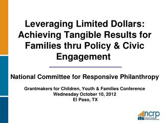 NCRP Promotes Philanthropy That: