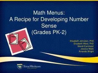 Math Menus:  A Recipe for Developing Number Sense (Grades  PK -2)