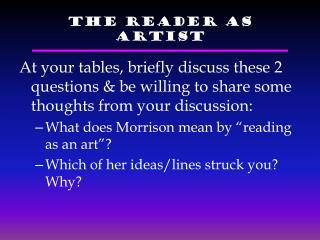 The Reader as Artist