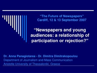 """ Newspapers and young audiences: a relationship of participation or rejection?"""