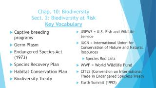 Chap.  10: Biodiversity Sect .  2: Biodiversity at Risk Key Vocabulary
