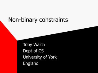 Non-binary constraints