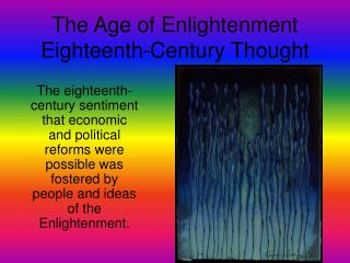 The Age of Enlightenment Eighteenth-Century Thought