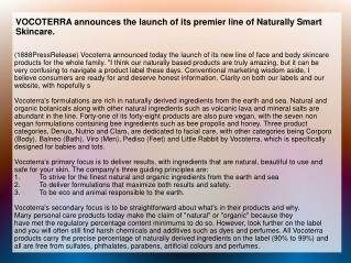 VOCOTERRA announces the launch of its premier line of Natura