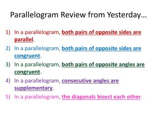 Parallelogram Review from Yesterday…