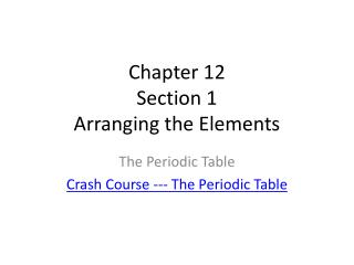 Chapter 12 Section 1 Arranging the Elements